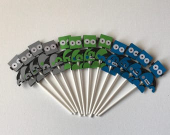 Robot themed cupcake toppers / Robot themed birthday party / Boys robot themed birthday / Cupcake toppers for robot themed party