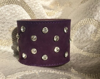"""Crystal Embellished Wide Suede Leather Cuff Bracelet in Eggplant Purple - Adjustable 7""""-7.5""""-8"""" - High Vibrance Sparkle"""