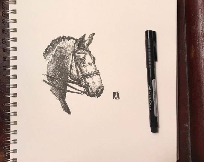 KillerBeeMoto: Original Pen Sketch of Draft Horse