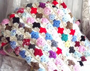 MBS  Hand Crocheted Afghan, Multi Colored Afghan, Vintage Afghan, Throw Blanket