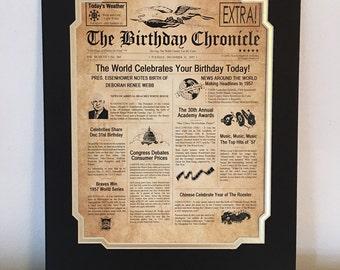 "60th Birthday Gift Personalized 11"" X 14"" Print Headline News Time Capsule Newsletter Style Birthday Chronicle Milestone 1957"
