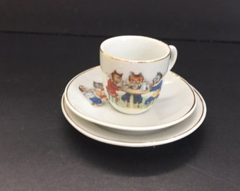 Vintage Child's Tea Set 1920's with Colorful Cat Characters Miniature China Tea Set