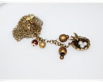 Necklace vintage spring birdy Romancé time bronze bronce necklace romancé bird Renaissance Historicism romance