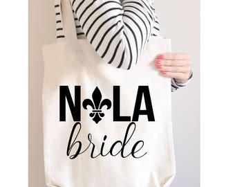 Nola Bride Canvas Tote, Bachelorette Party Tote, Bachelorette Party Favor, Bachelorette Party Gift, Gift Bag, Tote Bag, New Orleans Tote