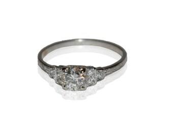 Antique Estate Platinum and Diamond Engagement Ring, Round European Cut .65ctw Diamond