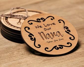 NaNa Gift, Personalized Coasters, Custom Coasters, Lacquered Wood Coaster, Monogram Coaster, ...