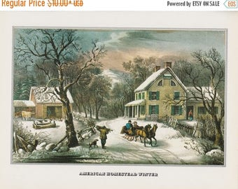 """50% Off Estate Sale Vintage Currier & Ives Print, American Homestead Winter,  11.25"""" x 8.75"""" or Matted to 11"""" x 14"""""""