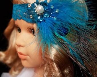 Girls headband, feather headband, blue hair band, blue flower, baby photo prop, girls vintage headband