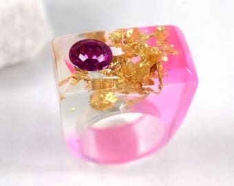 Cherry Blossom Pink Resin Ring, Gold Leaf Pink Swarovski Crystal SUMMER Rings, Unique Modern Rings, Exclusively at ResinHeavenUSA