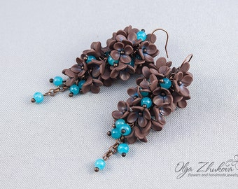 Earrings with flowers made of polymer clay. Long earrings with bunches of flowers from polymer clay