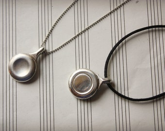 Recycled Flute Key Silver Circle Pendant - Musical Instrument Jewelry
