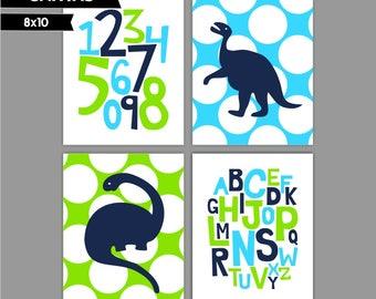 Lime Blue Navy Dinosaur Baby Boy nursery art prints Nursery canvas art, Alphabet numbers Set of 4 8x10 ( S81014 )