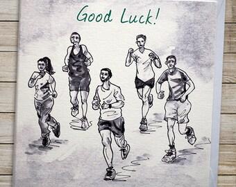 Good Luck running card | Running motivation card | Marathon runner | Running Club | Sport | Race | Parkrun | Sketch style greeting card