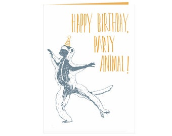 funny Birthdaycard - Happy birthday, party animal! - dancing sifaka - handdrawn birthdaycard - eco friendly