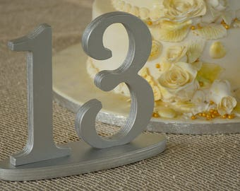 Table Numbers, Silver Wedding Table Numbers, Glitter Table Numbers, Silver Wedding Centerpieces
