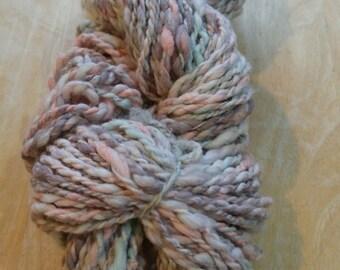 Handspun yarn- handspun art yarn-88yds- handdyed-handspun- cotton yarn- knit- crochet- homespun yarn- cotton-novelty yarn