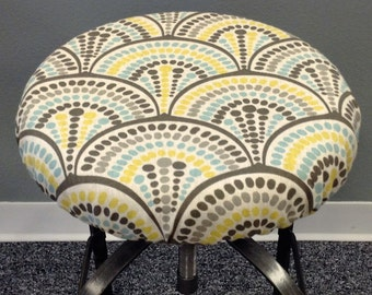 Modern Print Elasticized round barstool cover, kitchen counterstool seat cover, washable home decor fabric, floral, geometeric, gray natural