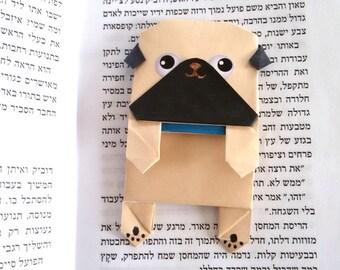Cute Origami Pug Bookmark ,Unique Paper Bookmark, Black Pug, Cool bookmark, Cute Pug