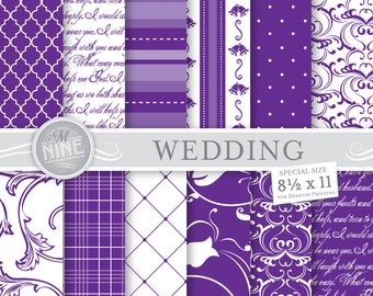 "PURPLE WEDDING Digital Paper Pattern Prints, Instant Download, 8 1/2"" x 11"" Paper Pack Purple Patterns Backgrounds Scrapbook Print"