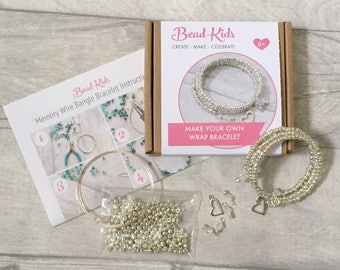 DIY Memory Wire Bracelet Kit, Silver Bracelet Kit, Bangle Kit, Craft Kit, Beads for Kids, Wrap Bracelet Kit, Bead-Kids, Jewellery Making Kit