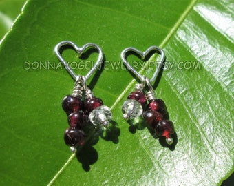 Sterling Silver Heart Post Earrings with Ruby and Clear Quartz