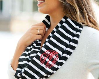 Monogrammed Black Stripe Scarf   Monogrammed Black Inifinity Scarf   Mongrammed Winter Scarf   Personalized Scarf   Embroidered Scarf