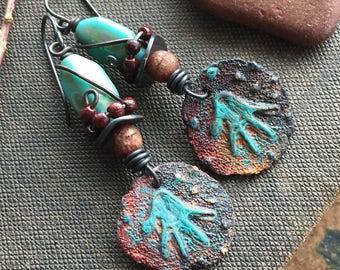 Primitive Tribal Earrings, Petroglyph Foxpaws Earrings, Rustic Boho Earrings, Southwest Earrings, Earthy Bohemian, Unusual Indie Earrings