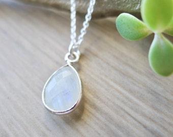 Moonstone Necklace, Sterling Silver, June Birthstone, June Necklace, June Jewelry, Simple, Stone Necklace, Modern Necklace, Moon Stone, Tear