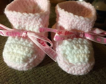 Crochet Preeime Pink And White Booties