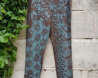 Vesna Design pixie leggings with psychedelic abstract floral patterns and tie dye effect/ Psytrance steampunk boho punk festival clothing