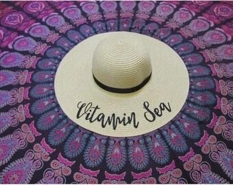 Vitamin Sea Beach hat, Floppy Hat, Straw Hat, Ladies Sun Hat, Bachelorette Party, Girls Weekend hat