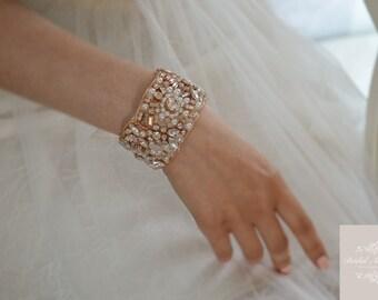 Gorgeous Rose Gold Vintage Inspired Crystal Bridal Cuff/ Bracelet