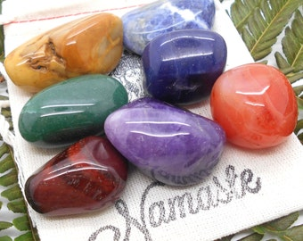 Chakra and Reiki Stone Gift Set - Meditation, Zen, Crystal Healing, Feng Shui, Reiki, Wicca, Tumbled, Gemstones, 7 Chakra, Crystal
