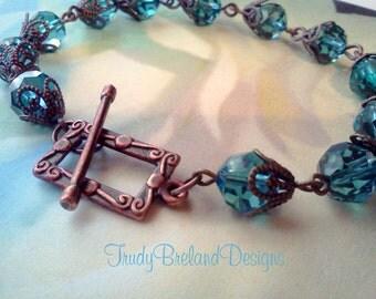 Teal Blue Earrings, Blue Swarovski Bracelet, Copper and Teal Bead Bracelet, Aqua Crystal Bracelet, Vintage Style Bracelet, Boho Bracelet