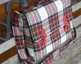 Harris Tweed satchel - Stewart tartan - shoulder bag - wool bag - cross body bag - tweed bags - handmade bag - satchels - messenger bag