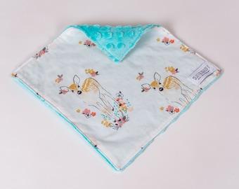 Blanket/Lovie Fawn. Fawn Lovie. Floral Deer Lovie. Childrens Lovie. Woodland Lovie. Girl Lovie. Blue lovie.