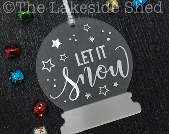 Let it Snow | Snow Globe Ornament | Snow Globe Decoration | Christmas Tree Decoration | Personalised Tree Decoration | Christmas Ornament
