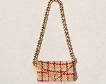 Vintage 1960s Barbie Plaid Pocketbook Purse with Chain/Chanel Like/Classic MCM