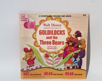 Vintage 1960s Walt Disney/Disneyland Records 'Goldilocks and the Three Bears' Book and 33 1/3 vinyl record, MCM Illustrations