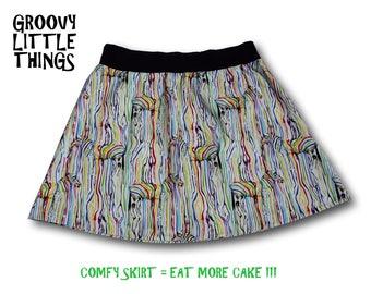 Rainbow Zebra  Comfy Skirt