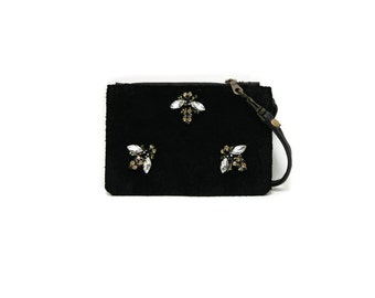 Jeweled bee leather wallet // Black coin purse with wristlet