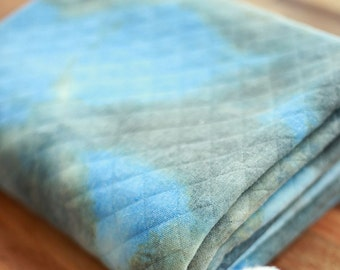 Quilted Knit Fabric Watercolor Blue Grey By The Yard