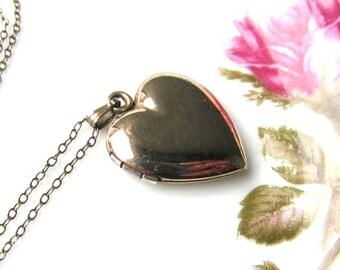 Vintage Gold Filled Over Sterling Heart Locket Pendant Necklace 1940s Love Sweetheart