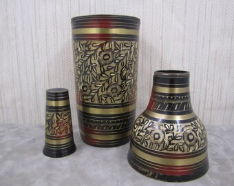 Rare  Vintage Mughal Art Brass Bottle