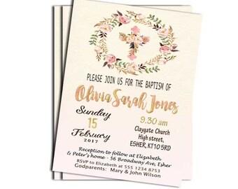 Girl Baptism Invitation Printable Girl Christening Invitation Printable Blush floral Baptism Invitation Cross Spring Pink Baptism Invitation