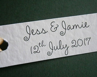 50 Personalised Wedding Favour Gift Tags