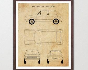 VW Gulf 1975 - VW Patent - Volkswagen - Volkswagen Patent - Volkswagen Art - VW Poster - Volkswagen Poster - Bug - Vintage Car Art