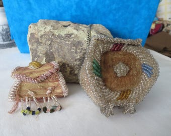 Antique Beaded Indian Iroquois Box Whimsy Purse lot