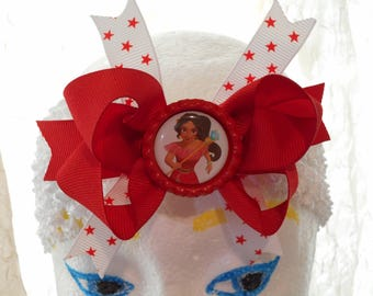 Elena Of Avalor  Red Hair Bow White  Stretchy Wide Headband  Ready To Ship!