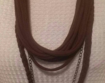 Handmade Upcycled Brown T-shirt scarf with beaded chain